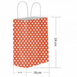 Kırmızı Puantiyeli Kraft Hediye Çantası 18x8x24 cm 25'li