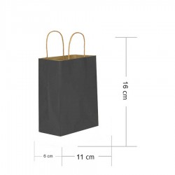 Siyah Kraft Hediye Çantası 11x6x16 cm 25'li