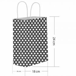 Siyah Puantiyeli Kraft Hediye Çantası 18x8x24 cm 25'li