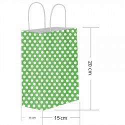 Yeşil Puantiyeli Kraft Hediye Çantası 15x20 cm 25'li