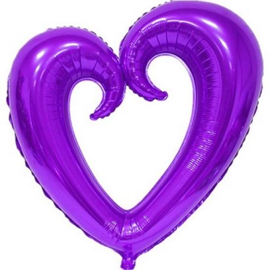 Mor Folyo İçi Boş Kalp Balon