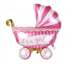 Bebek Arabası Pembe Folyo Balon