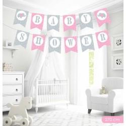 Baby Shower Pembe Harf Afiş