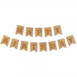 Happy Birthday Kraft Zemin Altın Harf Afiş