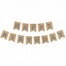 Happy Birthday Kraft Zemin Gümüş Harf Afiş