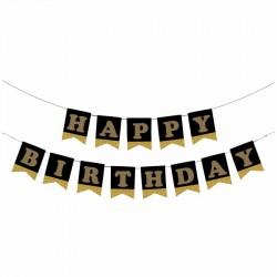Happy Birthday Siyah Zemin Altın Harf Afiş