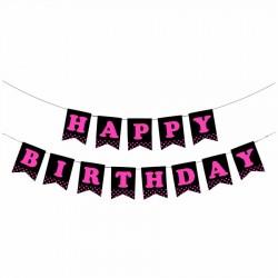 Happy Birthday Siyah Zemin Fuşya Harf Afiş