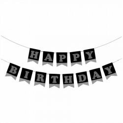 Happy Birthday Siyah Zemin Gümüş Harf Afiş