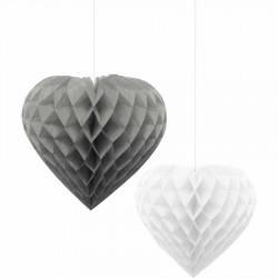 İkili Kalp Gümüş-Beyaz Petek Süs