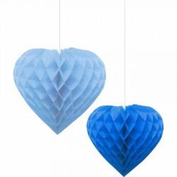 İkili Kalp Mavi-Lacivert Petek Süs