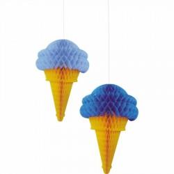 İkili Dondurma Mavi Petek Süs