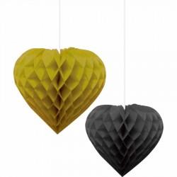 İkili Kalp Altın-Siyah Petek Süs