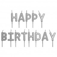 Gümüş Renk Happy Birthday Yazılı Mum