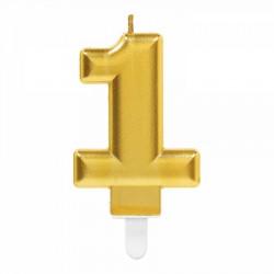 1 Rakam Altın Işıltılı Mum 7 cm