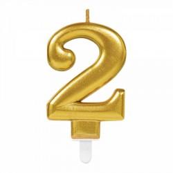 2 Rakam Altın Işıltılı Mum 7 cm
