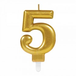 5 Rakam Altın Işıltılı Mum 7 cm