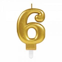 6 Rakam Altın Işıltılı Mum 7 cm