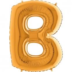 B Harf Grabo Altın Folyo Balon 102 cm