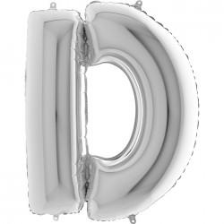 D Harf Gümüş Folyo Balon 40 cm