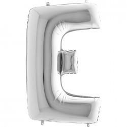 E Harf Gümüş Folyo Balon 40 cm