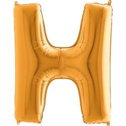 H Harf Altın Folyo Balon 40 cm