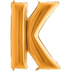 K Harf Grabo Altın Folyo Balon 102 cm