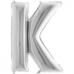 K Harf Gümüş Folyo Balon 40 cm
