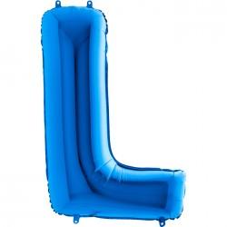 L Harf Grabo Mavi Folyo Balon 102 cm
