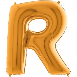 R Harf Altın Folyo Balon 40 cm
