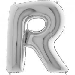 R Harf Gümüş Folyo Balon 40 cm
