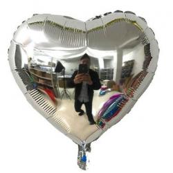 Gümüş Kalp Folyo Balon 86 cm