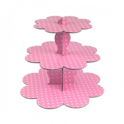 Pembe Puantiyeli Cupcake Standı