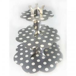 Gümüş Puantiyeli Cupcake Standı