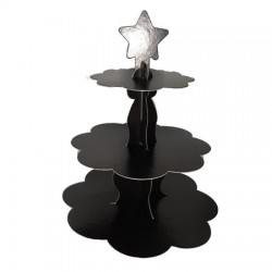 Metalik Siyah Cupcake Standı