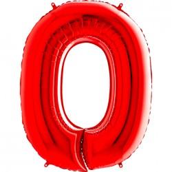 0 Rakam Grabo Kırmızı Folyo Balon 102 cm