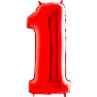 1 Rakam Grabo Kırmızı Folyo Balon 102 cm