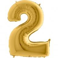 2 Rakam Altın Folyo Balon 40 cm
