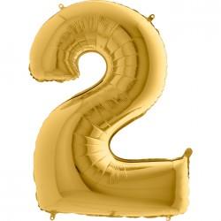 2 Rakam Altın Folyo Balon 80 cm