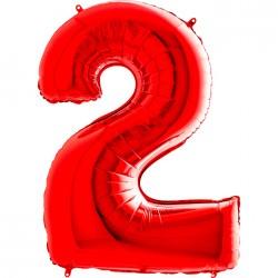 2 Rakam Grabo Kırmızı Folyo Balon 102 cm