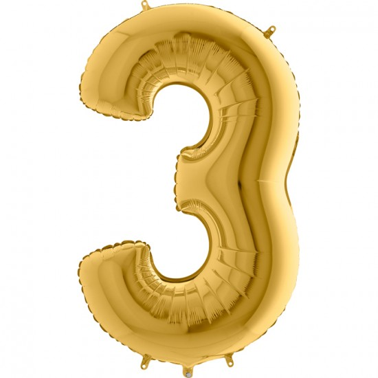 3 Rakam Altın Folyo Balon 80 cm
