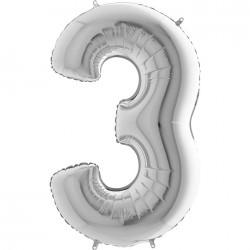 3 Rakam Gümüş Folyo Balon 80 cm