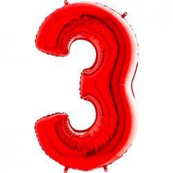 3 Rakam Grabo Kırmızı Folyo Balon 102 cm