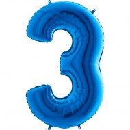 3 Rakam Mavi Folyo Balon 80 cm