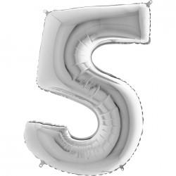 5 Rakam Gümüş Folyo Balon 80 cm