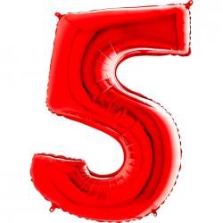 5 Rakam Grabo Kırmızı Folyo Balon 102 cm