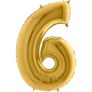 6 Rakam Altın Folyo Balon 80 cm