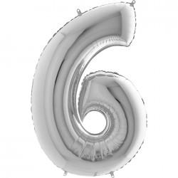 6 Rakam Gümüş Folyo Balon 80 cm