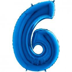 6 Rakam Mavi Folyo Balon 80 cm