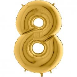 8 Rakam Altın Folyo Balon 40 cm