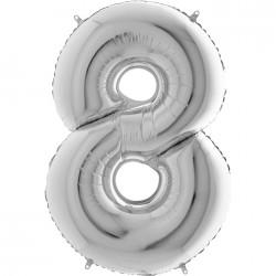 8 Rakam Gümüş Folyo Balon 40 cm